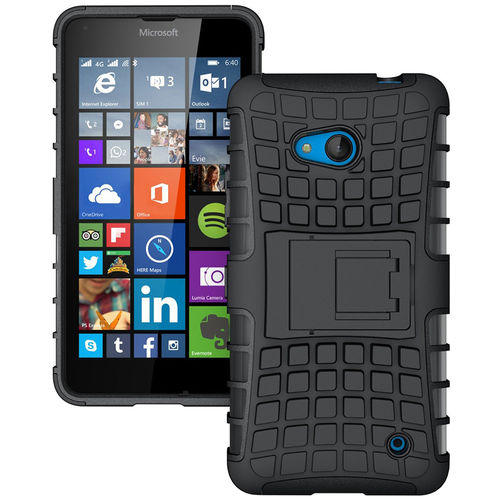 Dual Layer Rugged Tough Shockproof Case - Microsoft Lumia 640 - Black