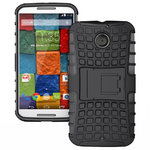 Rugged Tough Shockproof Case for Motorola Moto X (2nd Gen) - Black