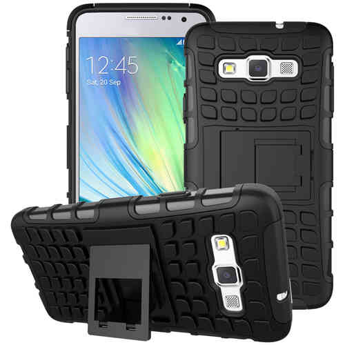 Dual Layer Tough Shockproof Case for Samsung Galaxy A3 (2015) - Black