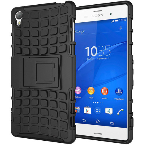 Dual Layer Rugged Tough Shockproof Case for Sony Xperia Z3 - Black