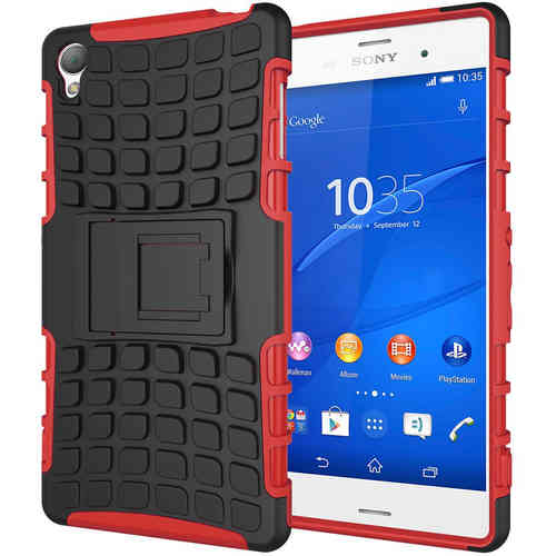 Dual Layer Rugged Tough Shockproof Case for Sony Xperia Z3 - Red