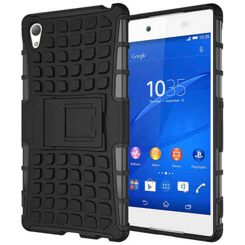 Dual Layer Rugged Shockproof Case - Sony Xperia Z3+ / Xperia Z4 - Black