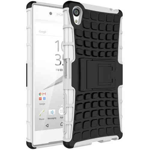 Dual Layer Rugged Tough Armour Case for Sony Xperia Z5 Premium - White