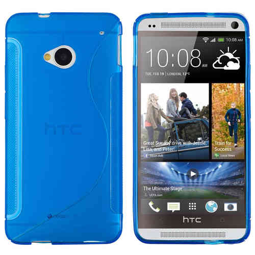 S-Line Flexi Gel Case for HTC One M7 - Blue (Two-Tone)