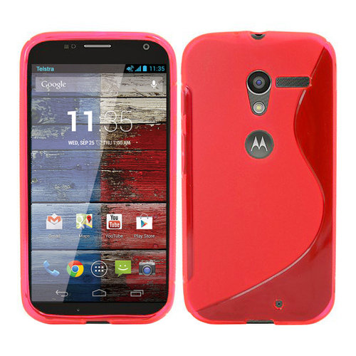 S-Line Flexi Case for Motorola Moto X 1st Gen - Red (Two-Tone)