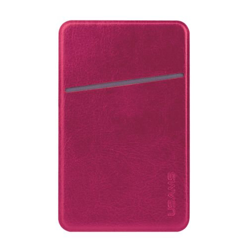 Usams Leather Card Holder Adhesive Pouch for Mobile Phones - Pink