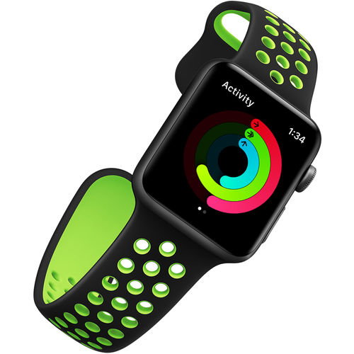 Sports Plus Silicone Band Strap for Apple Watch 38mm - Black / Green