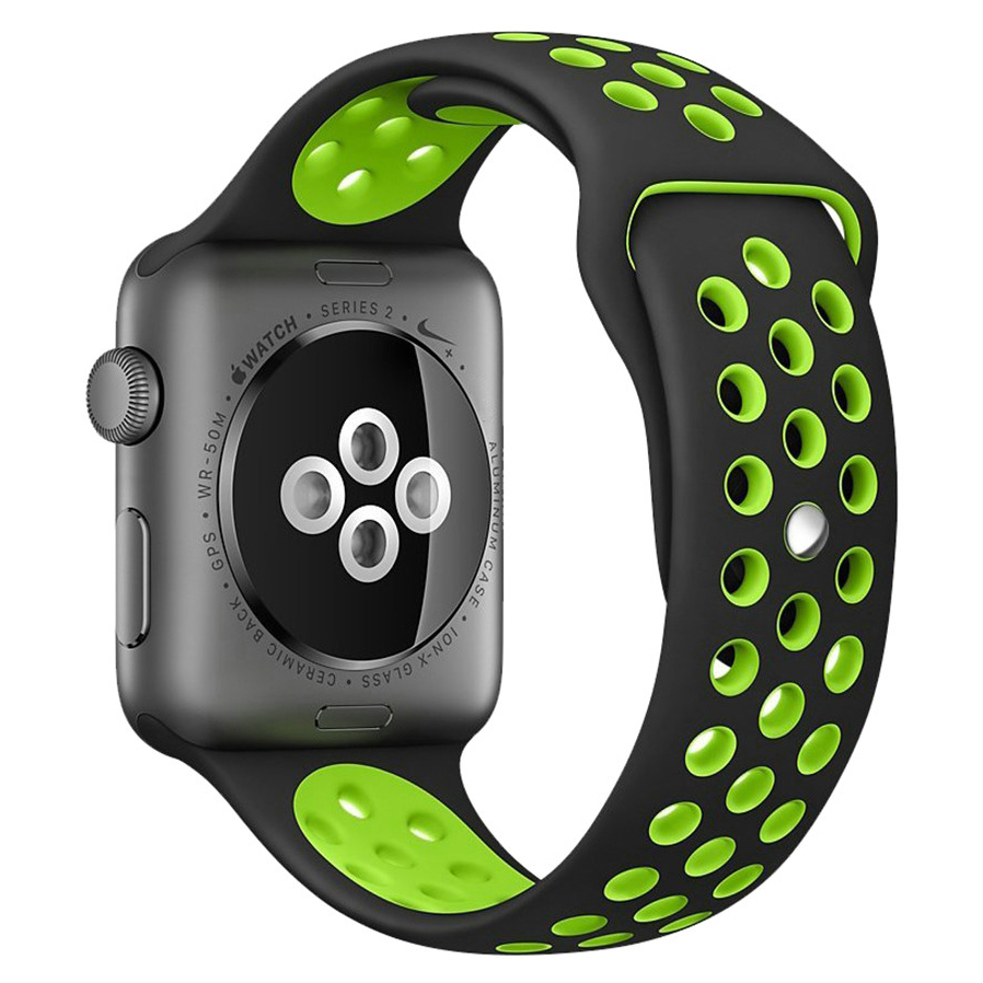 eeceb3870 Sport Plus Silicone Band Strap - Apple Watch 38 / 40mm - Black / Green ...