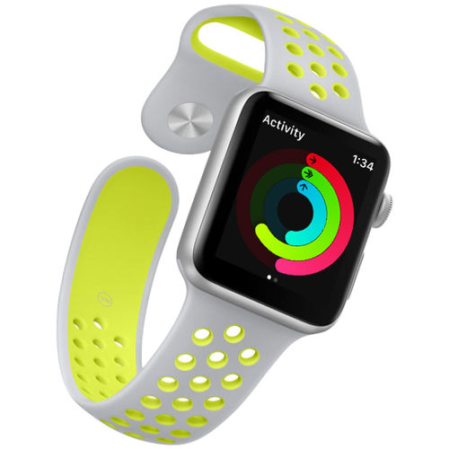 Sports Plus Silicone Band Strap for Apple Watch 38mm - Grey / Yellow