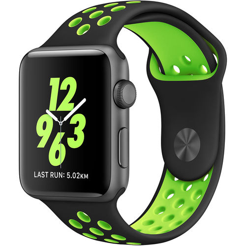 Sports Plus Silicone Band Strap for Apple Watch 42mm - Black / Green