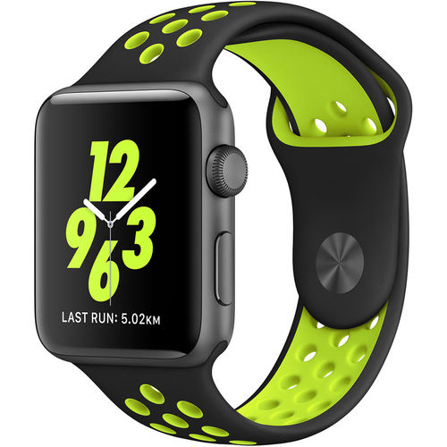 Sports Plus Silicone Band Strap for Apple Watch 42mm - Black / Yellow