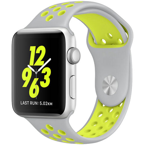 Sports Plus Silicone Band Strap for Apple Watch 42mm - Grey / Yellow