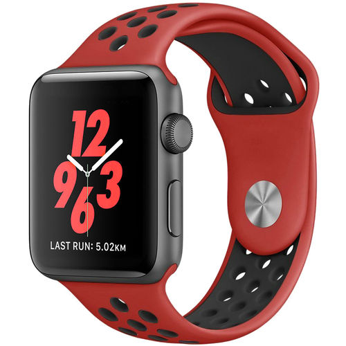 Sports Plus Silicone Band Strap for Apple Watch 42mm - Red / Black