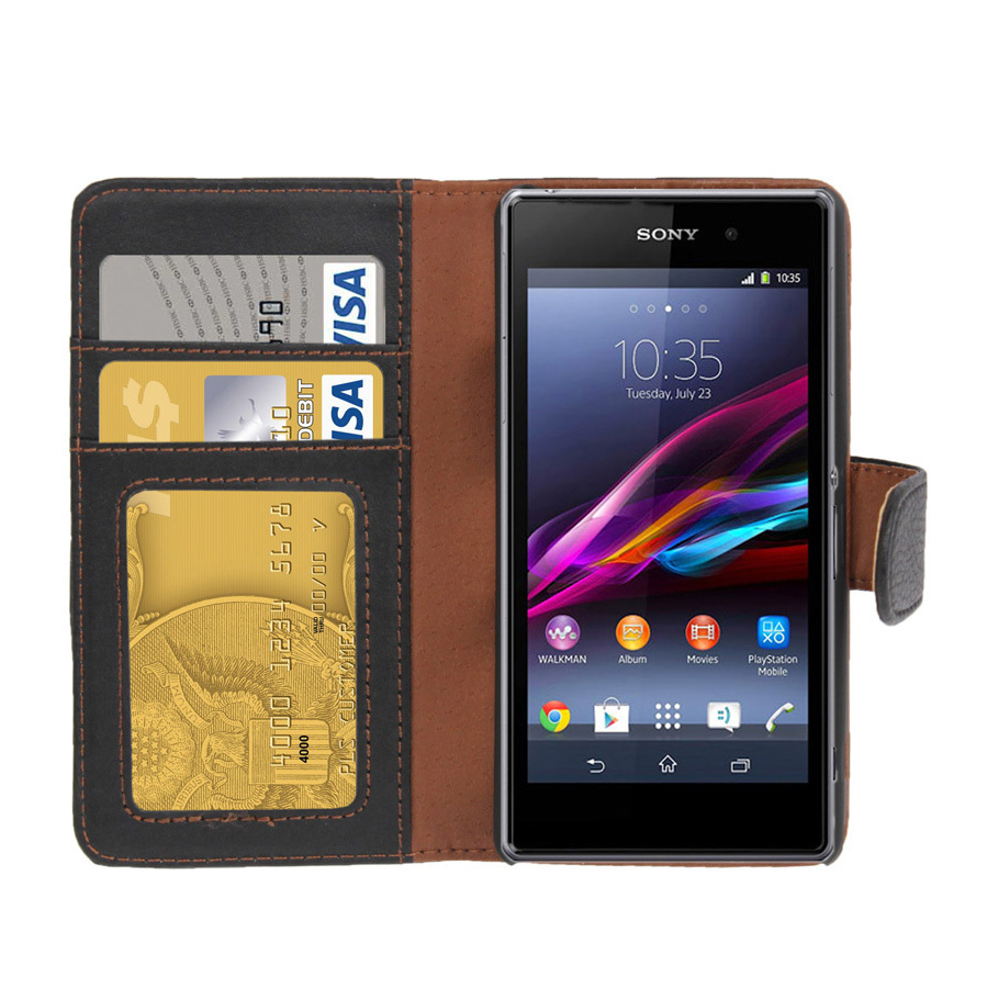 Leather Wallet Case for Sony Xperia Z1 Compact BlackXperia Z1 Protective Case