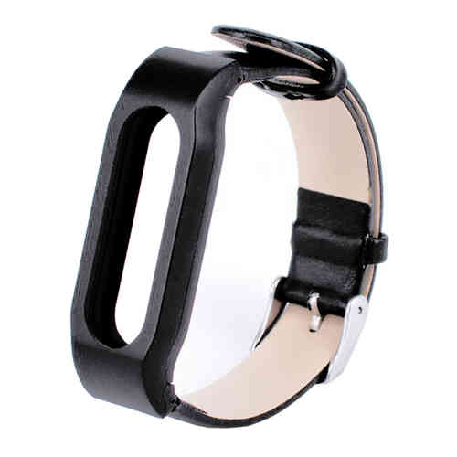 Replacement Leather Wrist Band Strap for Xiaomi Mi Band - Black