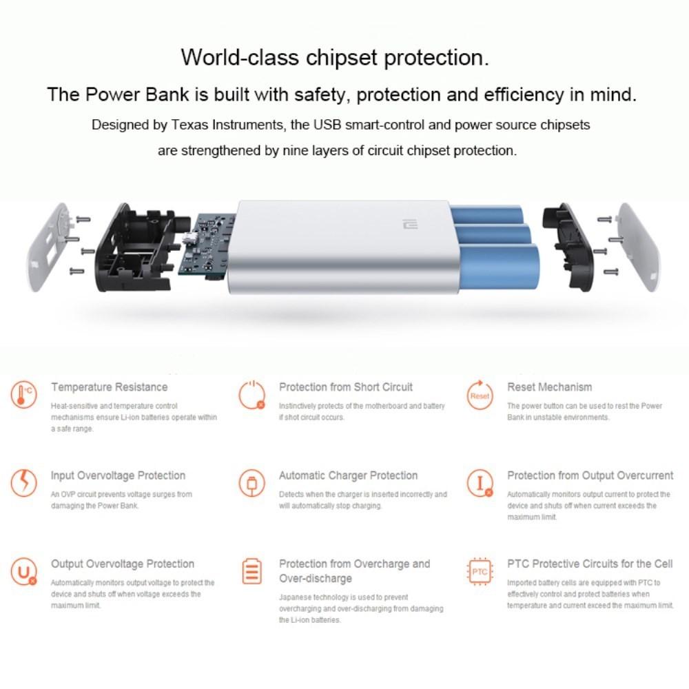Xiaomi Slim Mobile Power Bank Usb Charger 10000mah Powerbank 10000ma Silver