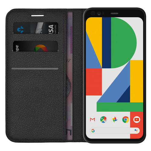 Leather Wallet Case & Card Holder Pouch for Google Pixel 4 - Black