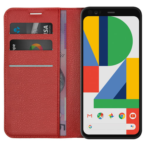 Leather Wallet Case & Card Holder Pouch for Google Pixel 4 - Red