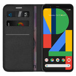 Leather Wallet Case & Card Holder Pouch for Google Pixel 4 XL - Black