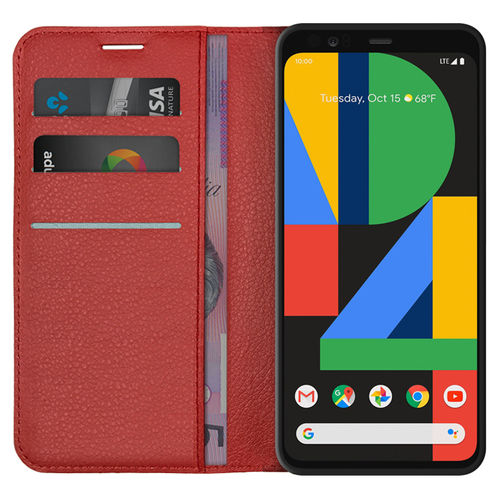 Leather Wallet Case & Card Holder Pouch for Google Pixel 4 XL - Red