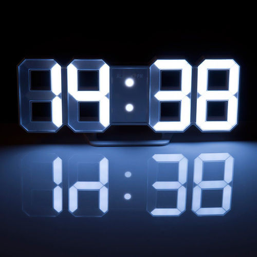 Large 3D LED Wall & Desk Clock / Digital Display / Alarm / 12/24 Hour