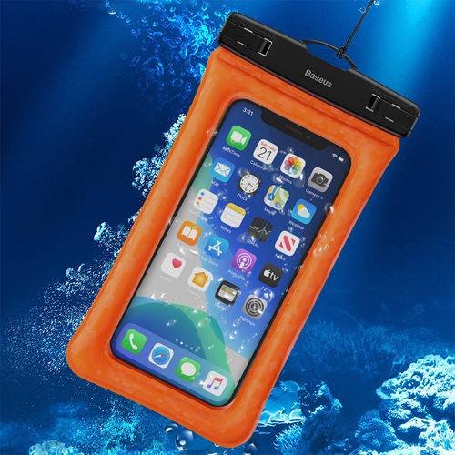 Baseus IPX8 Air Cushion Waterproof Case Bag for Mobile / iPhone - Orange