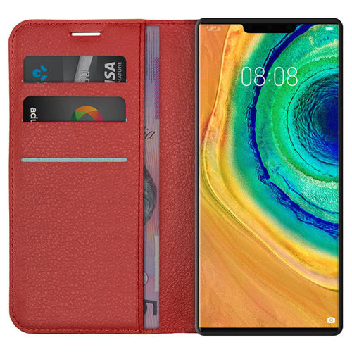 Leather Wallet Case & Card Holder Pouch for Huawei Mate 30 Pro - Red