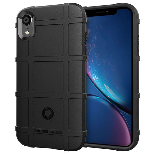 Anti-Shock Grid Texture Tough Case for Apple iPhone Xr - Black