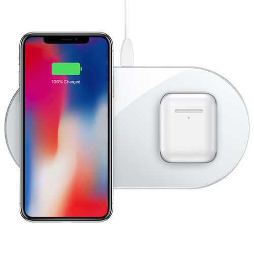 Baseus 2-in-1 (15W) Dual Wireless Charger Pad for iPhone / AirPods - White