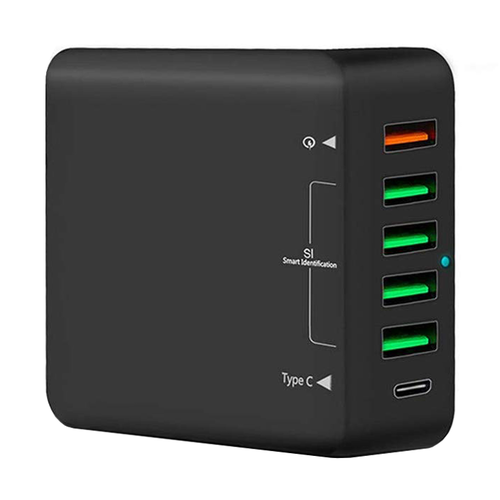 (60W) 6-Port USB-PD Type-C Desktop Fast Charging Station / Quick Charge 3.0