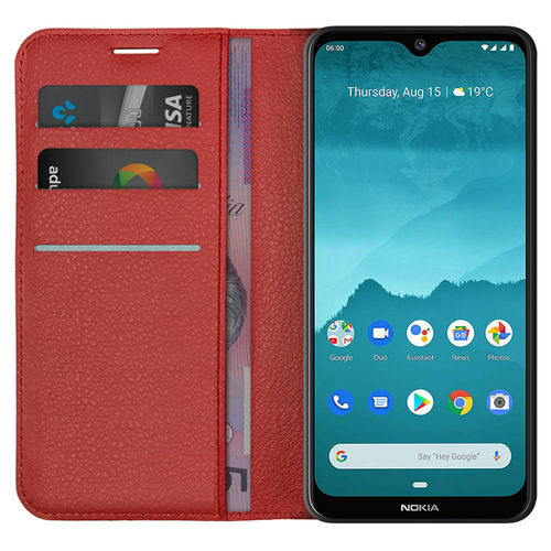 Leather Wallet Case & Card Holder Pouch for Nokia 7.2 / 6.2 - Red