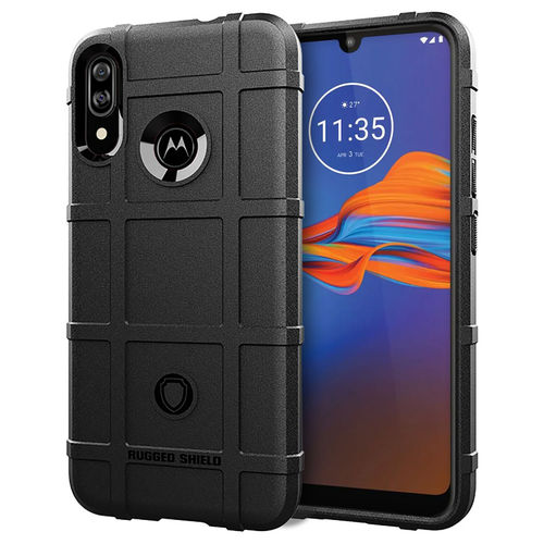 Anti-Shock Grid Texture Shockproof Case for Motorola Moto E6 Plus - Black