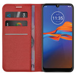 Leather Wallet Case & Card Holder Pouch for Motorola Moto E6 Plus - Red