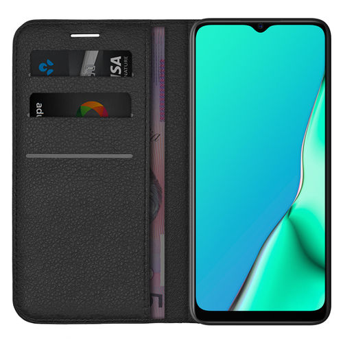Leather Wallet Case & Card Holder Pouch for Oppo A9 2020 (Black)