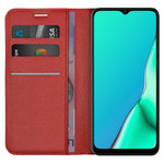Leather Wallet Case & Card Holder Pouch for Oppo A9 2020 (Red)