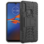 Dual Layer Rugged Tough Case & Stand for Motorola Moto E6 Plus - Black