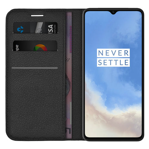 Leather Wallet Case & Card Holder Pouch for OnePlus 7T - Black