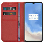 Leather Wallet Case & Card Holder Pouch for OnePlus 7T - Red