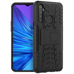 Dual Layer Rugged Tough Case & Stand for realme 5 - Black