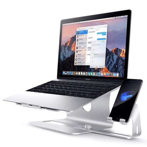 3-in-1 Aluminium Desk Stand / Cooling Fan / Phone Holder for MacBook Laptop - Silver