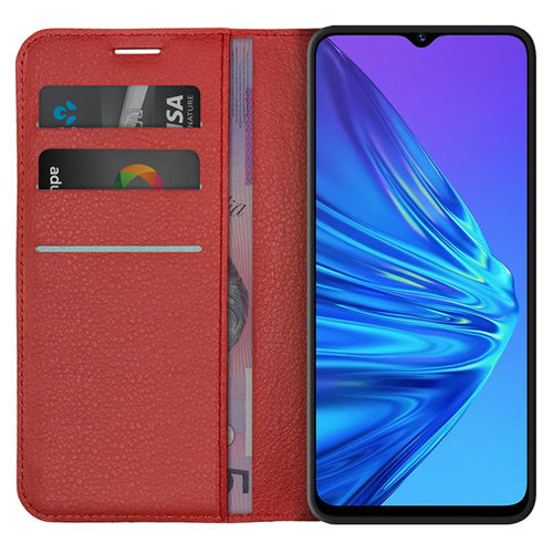 Leather Wallet Case & Card Holder Pouch for realme 5 - Red