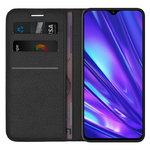 Leather Wallet Case & Card Holder Pouch for realme 5 Pro - Black