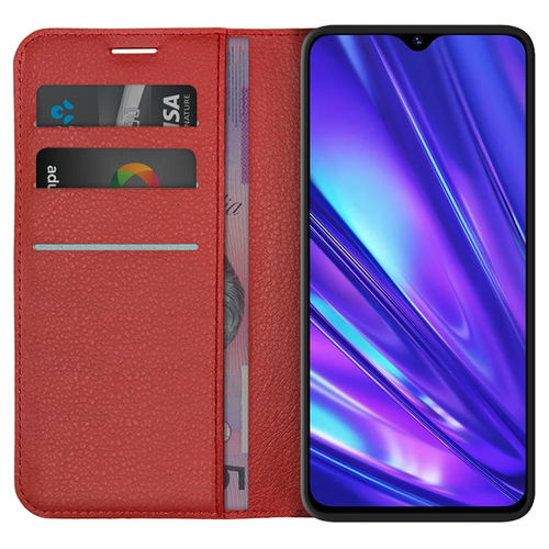 Leather Wallet Case & Card Holder Pouch for realme 5 Pro - Red