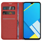 Leather Wallet Case & Card Holder Pouch for realme C2 - Red