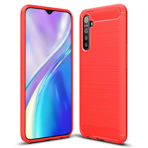 Flexi Slim Carbon Fibre Case for realme XT - Brushed Red