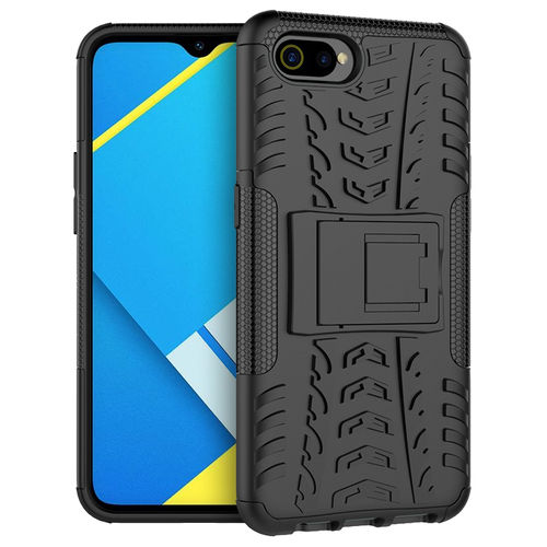 Dual Layer Rugged Tough Case & Stand for realme C2 - Black