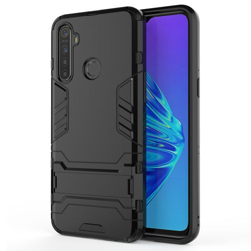 Slim Armour Tough Shockproof Case & Stand for realme 5 - Black