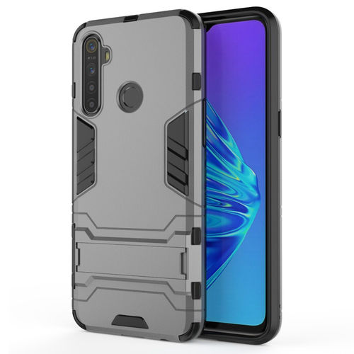 Slim Armour Tough Shockproof Case & Stand for realme 5 - Grey