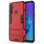 Slim Armour Tough Shockproof Case & Stand for realme 5 - Red