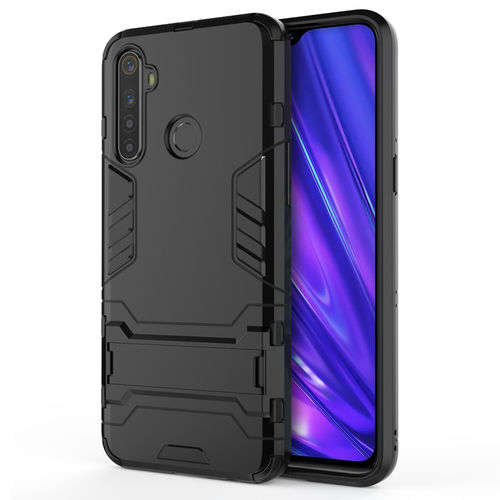 Slim Armour Tough Shockproof Case & Stand for realme 5 Pro - Black